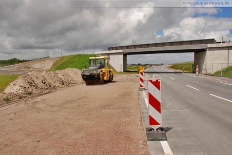Ersatzstraße in Höhe der neuen Eisenbahnbrücke