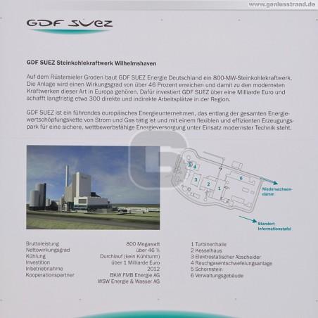 Blick auf die Informationstafel der GDF Suez