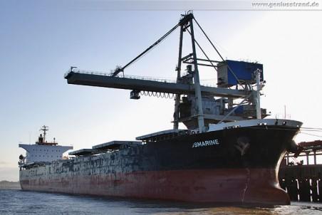 Das Frachtschiff Osmarine löscht 60.000 t Kohle an der Niedersachsenbrücke