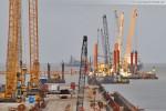 Blick auf den südlichen Teil der Baustelle JadeWeserPort