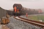 Gleisanbindung JadeWeserPort: Gleisbauarbeiten in Höhe der Eisenbahnbrücke