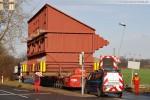 Schwertransport zur Kraftwerksbaustelle GDF Suez