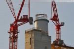 Kraftwerksbaustelle: Ein Wolff 355 B wird auf dem Kesselgerüst montiert