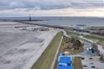 Baustelle JadeWeserPort: Blick Richtung Niedersachsenbrücke