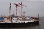 Baustelle JadeWeserPort: Blick zur Hauptkaje