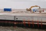Baustelle JadeWeserPort: Blick auf die südliche Flügelwand