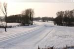 Gleistrasse JadeWeserPort: Hinten im Schnee liegt die JWP-Weiche