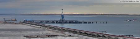 Baustelle JadeWeserPort: Panoramabild von der Niedersachsenbrücke