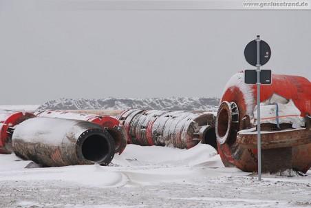 JadeWeserPort: Spülleitungen im Schnee