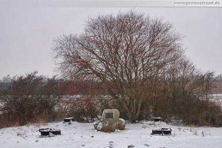 Gedenkstein: Hier stand vor über 49 Jahren der Leuchtturm Voslapp im Watt