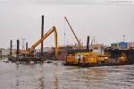 JadeWeserPort: Stelzenponton MC 53 & Arbeitsschiff M 13
