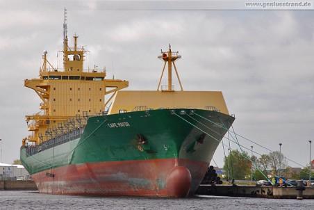 Frachtschiff Cape Mayor am Hannoverkai in Wilhelmshaven