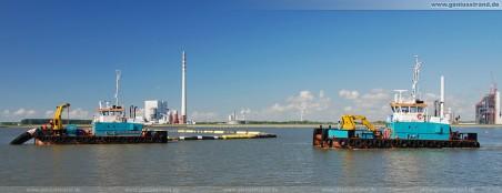 Bilder JadeWeserPort Hafenbaustelle Wilhelmshaven: Arbeitsboote Coastal Hunter und Coastal Warrior
