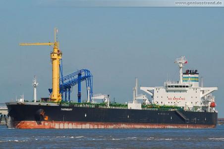 Tanker Thornbury löscht 80.000 t Rohöl an der NWO-Brücke