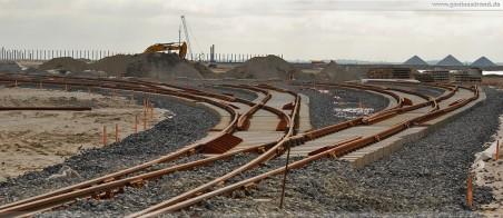 Die im Bau befindliche Vorstellgruppe des GVZ JadeWeserPort