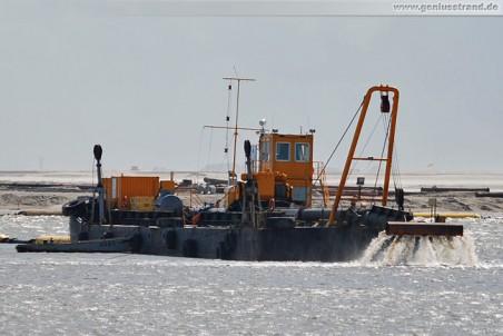 Verrieselungsponton MC 49 verteilt das Sand-Wasser-Gemisch