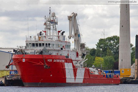 Subsea Support Vessel Vos Satisfaction am Jade-Dienst-Kai
