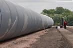 Hannoverkai: Montageplatz der HDPE-Rohre für die Kühlwasserleitung