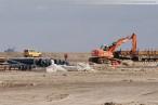 Die im Bau befindliche 16-gleisige Vorstellgruppe des GVZ JadeWeserPort