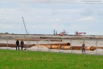 Die JadeWeserPort-Baustelle in Wilhelmshaven