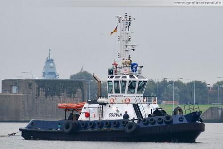 Schlepper Corvin der Reederei Hans Schramm im Nordhafen