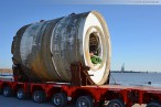 GDF Suez Kraftwerkskühlung: Tunnelbohrmaschine auf Modultransporter