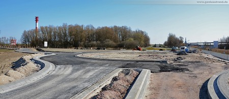Ausbauende der Autobahn A 29 - Blick auf den zukünftigen Kreisverkehrsplatz