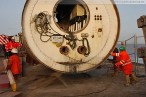 Kraftwerksbaustelle GDF Suez: Zweite Tunnelbohrmaschine im Zielschacht