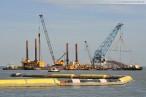 Kraftwerksbaustelle: Schwanenhals an der Seebaustelle der Kraftwerkskühlung
