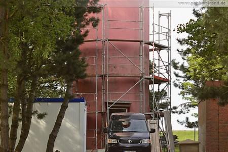 Einrüstung des Leuchtturms Oberfeuer Voslapp hat begonnen