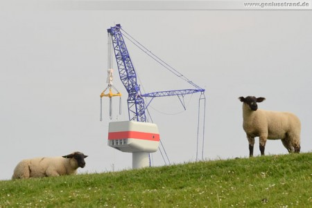 Hooksiel: Neue Gondel Bard 5.0 an der Nearshore-Windkraftanlage montiert