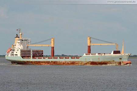 Frachschiff Herm Kiepe im Jadefahrwasser