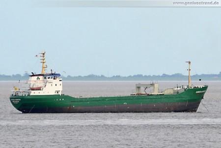 Frachtschiff Christa Kerstin liegt auf Reede in Wilhelmshaven