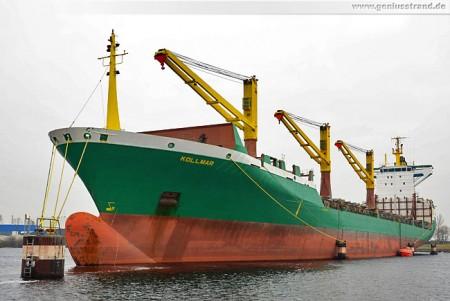 Das Feederschiff Kollmar als Auflieger in Wilhelmshaven
