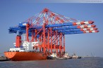 JadeWeserPort: Spezialfrachtschiff Zhen Hua 23 bringt vier Containerbrücken