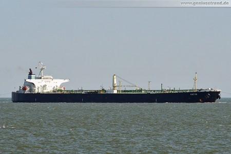 Tanker Katja der heute Nacht auf die Insel Minsener Oog aufgelaufen war