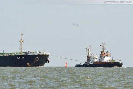 Der Tanker Katja der auf der Vogelschutzinsel Minsener Oog aufgelaufen war