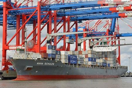 Container Terminal Wilhelmshaven (CTW): Maersk Containerschiff Anna Schulte