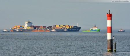 Wilhelmshaven: Containerschiff MSC Flaminia hat den JadeWeserPort erreicht (Hochseeschlepper Fairmount Expedition)