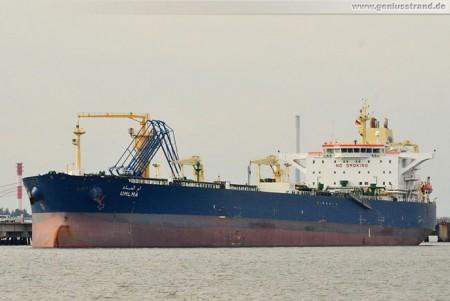 Tanker Umlma aus Katar am Löschkopf Nr. 2 der NWO
