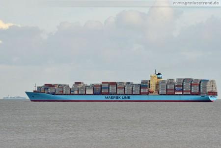 JadeWeserPort Wilhelmshaven: Containerschiff Svendborg Maersk auf der Jade