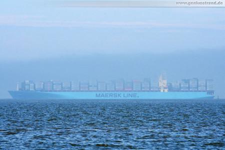 JadeWeserPort Wilhelmshaven: Containerschiff Maersk Stepnica im Nebel