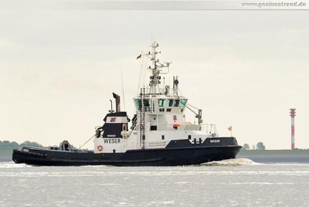 Schiffsbilder Wilhelmshaven: Schlepper Weser der URAG auf der Jade