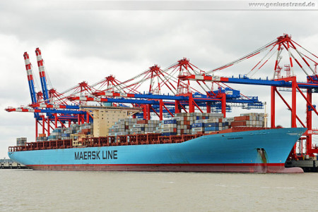 Wilhelmshaven: Containerschiff Eugen Maersk (398 m) am JadeWeserPort