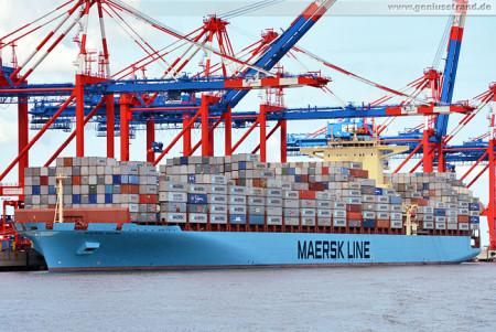 Wilhelmshaven: Containerschiff Maersk Salina (334 m) am JadeWeserPort
