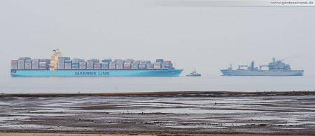 Wilhelmshaven: Containerschiff Maersk Stockholm, Einsatzgruppenversorger Bonn (A 1413) und Schlepper Bugsier 6