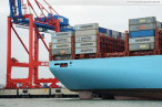 Wilhelmshaven: Die Majestic Maersk (Triple-E-Klasse) am JadeWeserPort