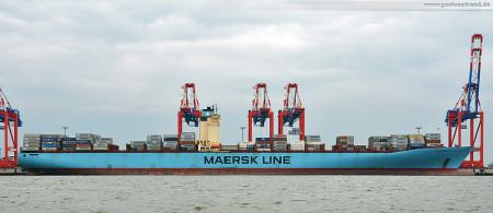 Wilhelmshaven: Zweitgrößtes Containerschiff der Welt Eugen Maersk (Emma-Maersk-Klasse) am JadeWeserPort