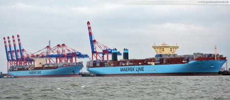 JadeWeserPort: Eugen Maersk (Emma-Maersk-Klasse) und die Majestic Maersk (Triple-E-Klasse) in Wilhelmshaven