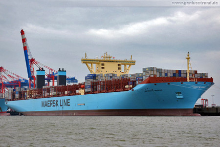 Größtes Containerschiff der Welt Majestic Maersk (Triple-E) am JadeWeserPort